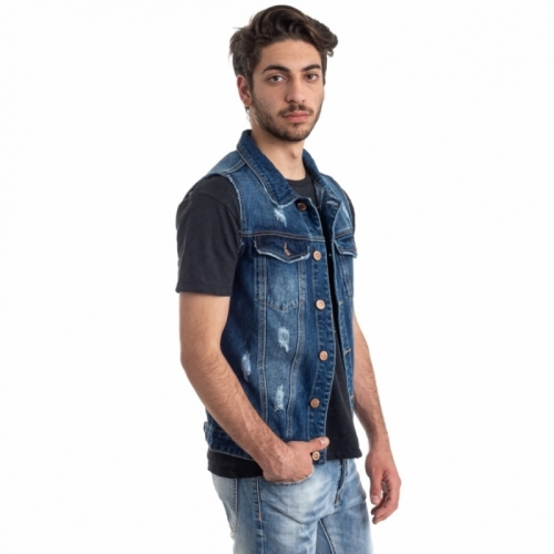 abbigliamento Giubbini uomo Gilet Jeans LPHM1086 LANDEK PARK Cafedelmar Shop
