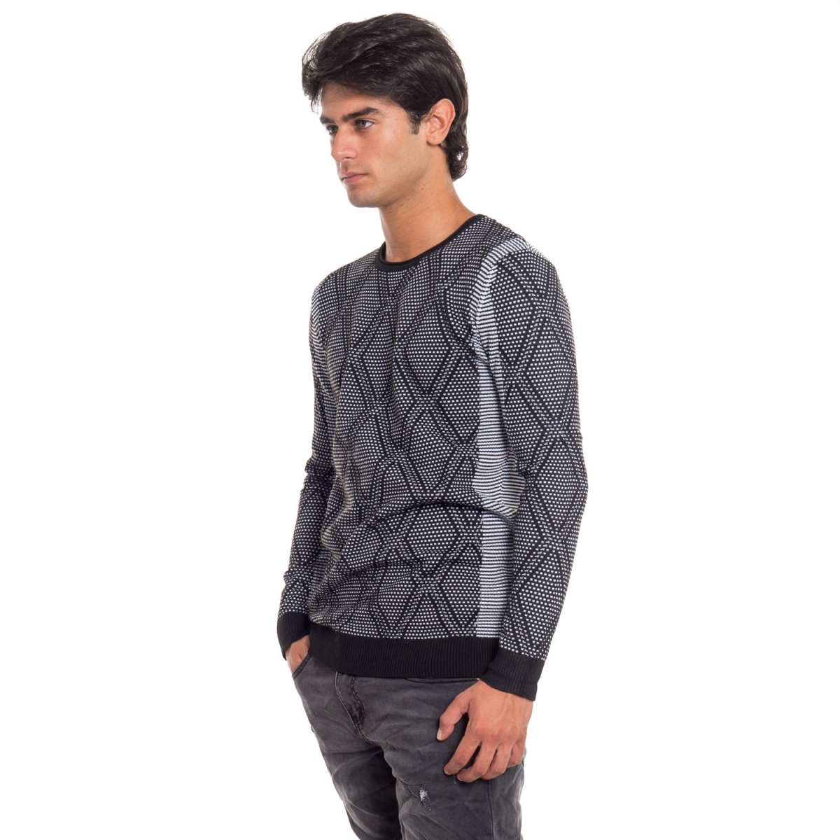 clothing Knitwears men Maglia NBK8069 NEROGRANIT Cafedelmar Shop