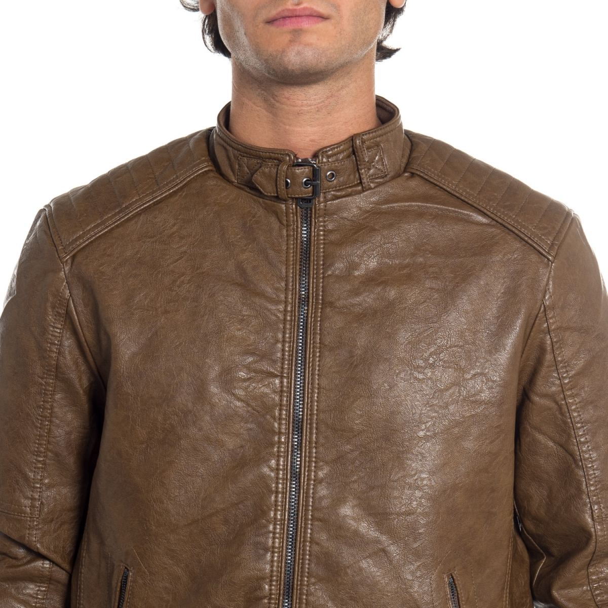 abbigliamento Giubbini uomo Giubbino biker in pelle LPP1760 LANDEK PARK Cafedelmar Shop